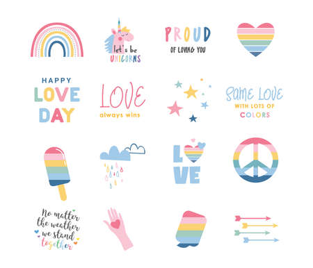 LGBT Pride Month icons. Lesbian Gay Bisexual Transgender. Celebrated annual pride month. LGBT flags, Rainbow and love concept. Human rights and tolerance. Poster, card, banner and background.