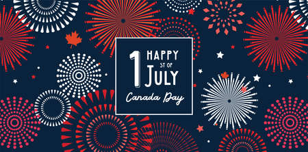 Happy Canada Day poster. 1st july. Vector illustration greeting card. Canada Maple leaves on white background