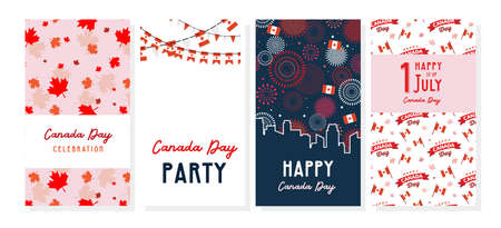 Happy Canada Day poster and web template set. 1st july. Vector illustration greeting cards. Canada Maple leaves and flags, independence day celebration