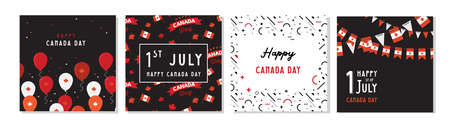 1 July. Happy Canada Day greeting card set . Celebration banner with flying balloons in canadian flag colors.