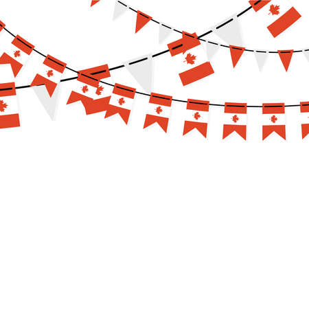 Garland banner in the colors of Canada. Canadian buntings, garlands, flags set isolated on white background. Vector illustration. Illusztráció