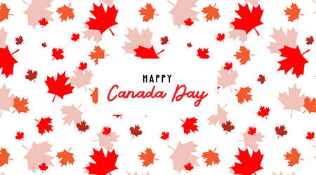 Happy Canada Day pbanner and poster. 1st july. Vector illustration greeting card. Canada Maple leave pattern on white background