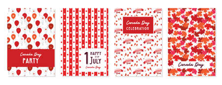 Happy Canada Day poster and cards. 1st july. Vector illustration greeting card. Canada Maple leaves on white background. illustration