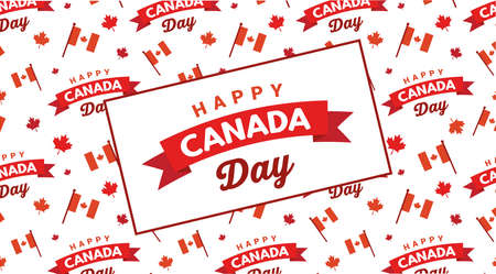 Happy Canada Day pbanner and poster. 1st july. Vector illustration greeting card. Canada Maple pattern on white background. vector illustration
