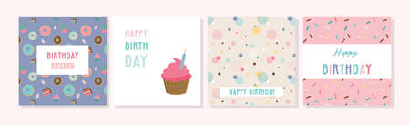 Happy birthday greeting card set and party invitation templates, with ice cream, donut and muffin patterns. birthdy sweets and treats. vector illustration