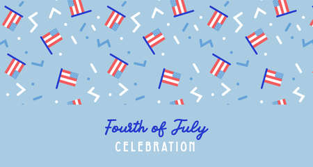 American Independence Day celebration web banner. greeting design with USA patriotic colors and flags. 4th of july, social media promotional content. Vector illustration Illusztráció