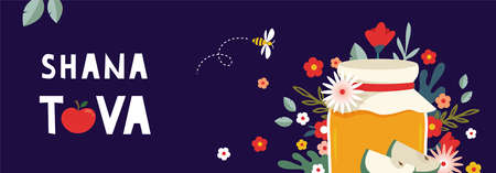 Jewish new year, rosh hashanah, greeting banner with traditional symbols, flowers and leaves. Happy New Year, Shana Tova in Hebrew. vector illustration