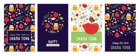 jewish new year, rosh hashanah, greeting card set with traditional icons. Happy New Year. Apple, honey, pomegranate, flowers and leaves, Jewish New Year symbols and icons.