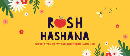Jewish new year, rosh hashanah, greeting banner with traditional symbols, flowers and leaves. Happy New Year, Shana Tova in Hebrew. vector illustraton Illusztráció