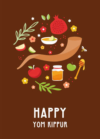 Greeting card for Jewish holiday Yom Kippur and jewish New Year, rosh hashanah, with traditional icons. design with traditional Jewish New Year symbols, apple, honey, shofar and flowers. Vector illustration design