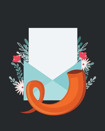 greeting card for jewish holidays. Yom Kippur , Jewish New Year, rosh hashanah or shabbat. greeting envelope with traditional icons.