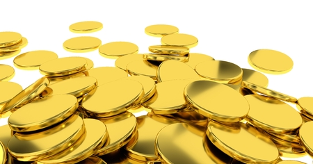 golden coins isolated combination on white background and 3D render. Stock Photo
