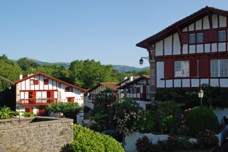 samll: Typical samll town in Basque Country, France Stock Photo