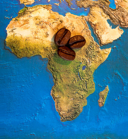 Coffee grains of Africa map photo