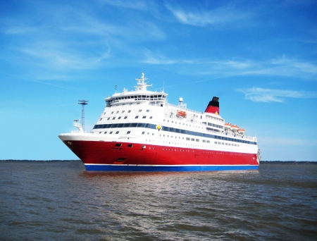 roomy: one big bright ferry floating by sea
