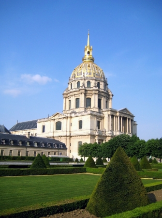 invalides: Cathedral of the Invalides in Paris in the spring