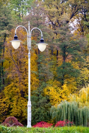 entire: park lights two lamps in the entire height against a bright autumn landscape Stock Photo