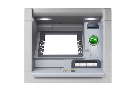 automatic teller: Blue ATM with blank screen isolated on white background Stock Photo