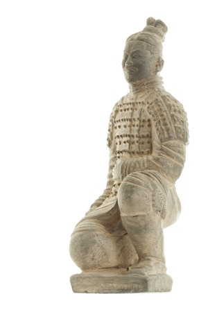 Sculpture of chinese terracotta warrior on white background photo