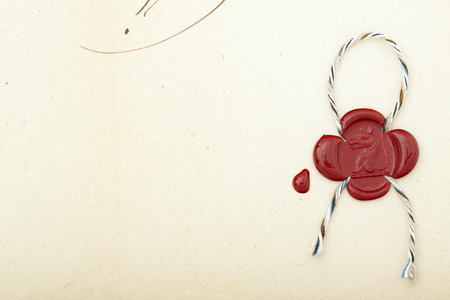 the eighteenth: Red seal wax on paper from eighteenth century