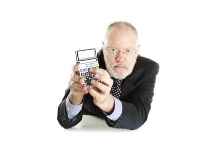 Elderly man posing on white background photo