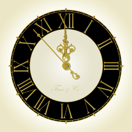 Illustration of antique wall clock 7 seconds to midnight or noon Stock Photo