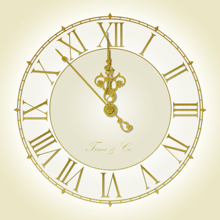 past midnight: Illustration of antique wall clock 7 seconds to midnight or noon Stock Photo
