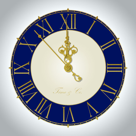 noon: Illustration of antique wall clock 7 seconds to midnight or noon Stock Photo