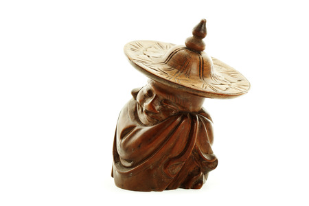 chinesse: Chinese antique wooden goblin isolated on white background Stock Photo