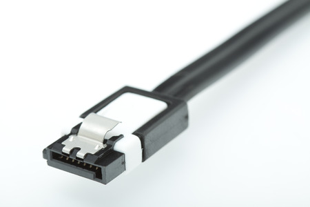 sata: Computer SATA cable isolated on white background