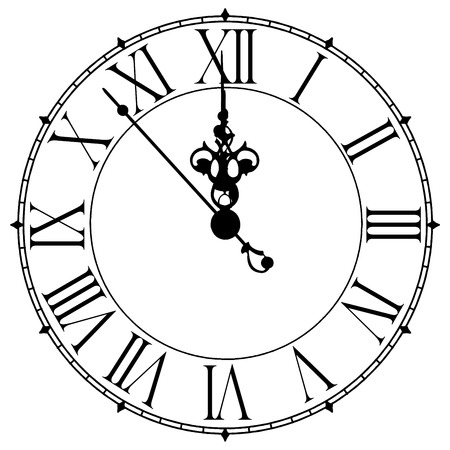 noon: Image of old antique wall clock 7 seconds to midnight or noon