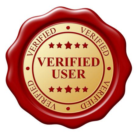 sceau cire rouge: Cachet de cire rouge avec le texte V�rifi� sujet sur fond blanc Banque d'images