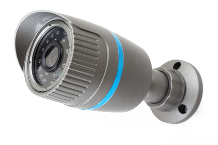 ip camera: Outdoor and waterproof ip security surveillance video camera isolated on white background Stock Photo