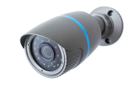 ip: Outdoor and waterproof ip security surveillance video camera isolated on white background Stock Photo