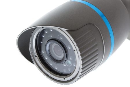 ip cam: Outdoor and waterproof ip security surveillance video camera isolated on white background Stock Photo