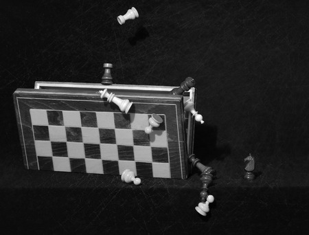 weightlessness: chess pieces in weightlessness above the box