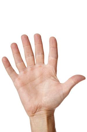 Hand mit sechs Fingern, isoliert auf weiss