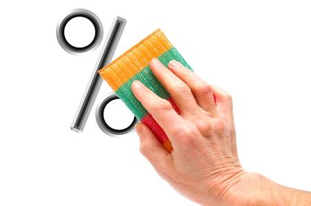 erasing: Hand erasing percent sign