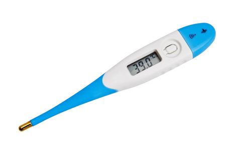 Thermometer on white background Foto de archivo
