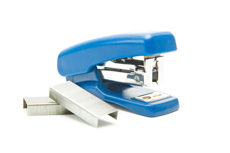 Blue stapler and clips