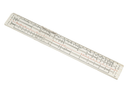 Slide rule on white background photo