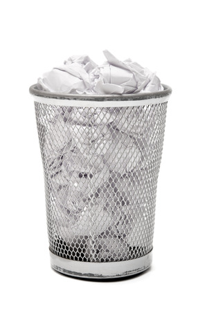 Bin for paper on white background photo