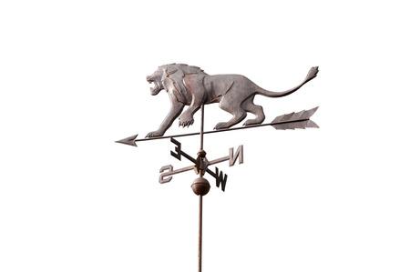 wind vane: Lion wind vane on white background Stock Photo