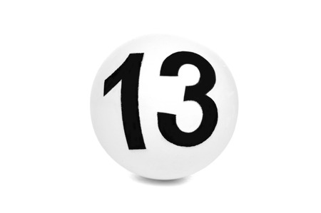 Ball lottery with number thirteen photo