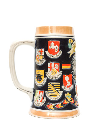 stein: German beer stein on white background Stock Photo