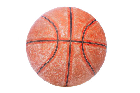 Old basket ball on white background photo