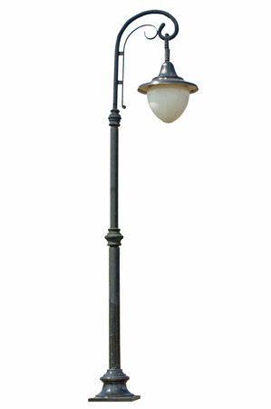 Street lamp isolated on white photo