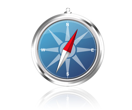 orientate: Compass with reflection  Stock Photo