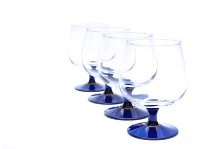 bar ware: Four wineglasses isolated on whie background Stock Photo