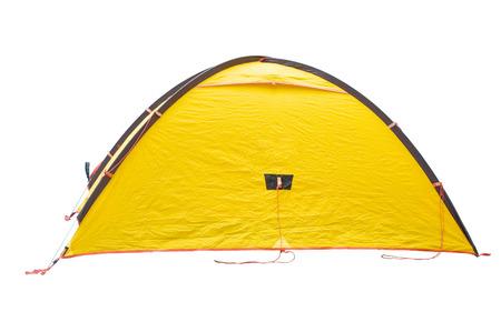 Yellow tent on white bacground